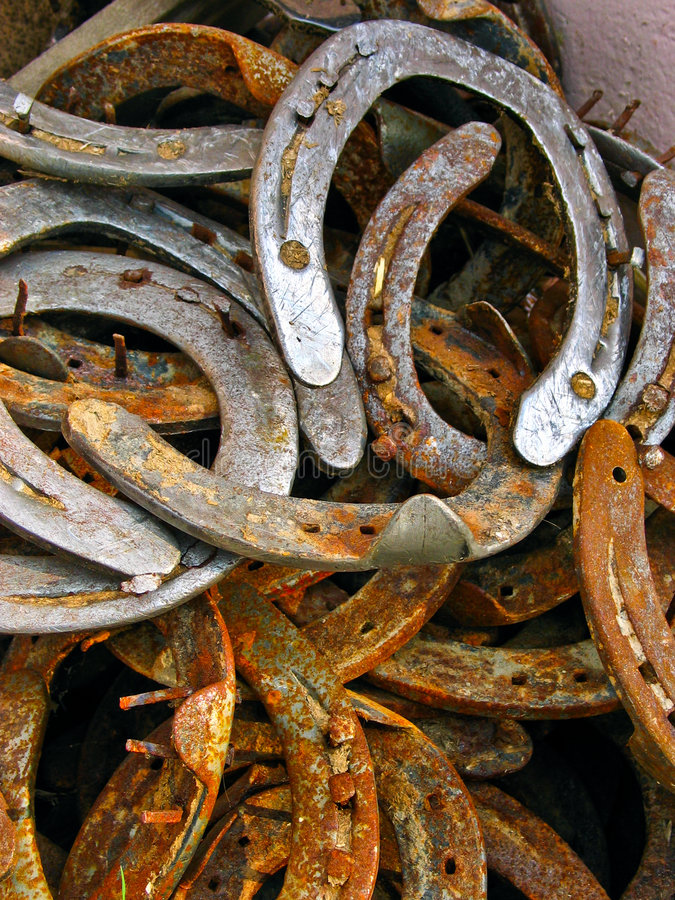 Rusted horseshoes stock photos