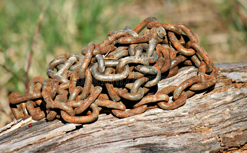Rusted Log Chain stock photos