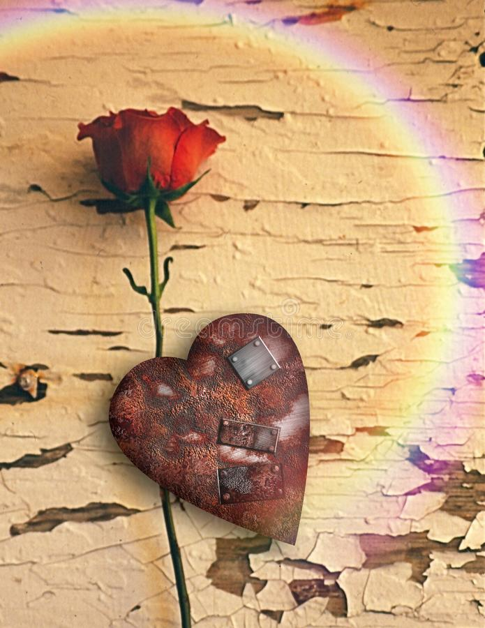 Rusted love stock illustration