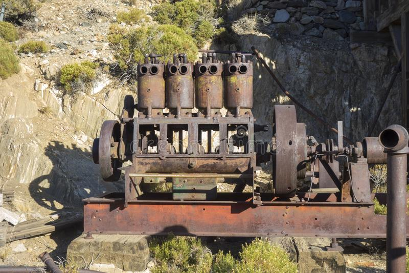 Rusted Machinery Iron Horse Mine Joshua Tree National Park California USA. Rusted Machinery Equipment in Lost Horse Gold and Silver Mine Relic of Frontier Days royalty free stock photo