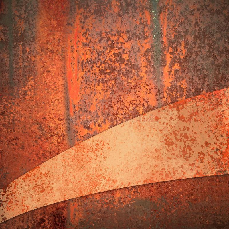 Rusted metal background with diagonal curved stripe with copyspace stock image