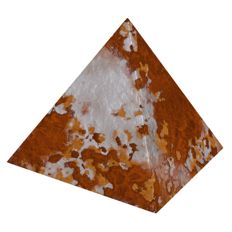 Rust pyramid rustic metal textures. Giant metallic square based pyramid with iron rusty texture. Ancient Egyptian isolated background stock photos
