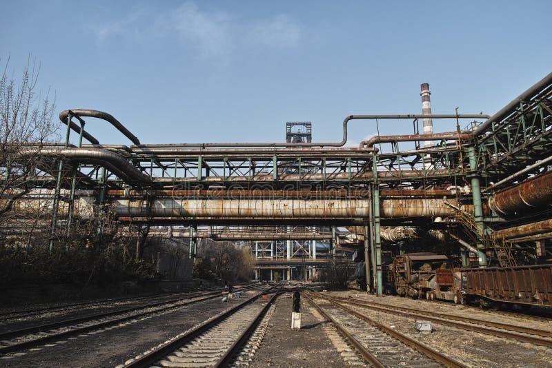 Rusted railway and abandoned steelmaking equipments