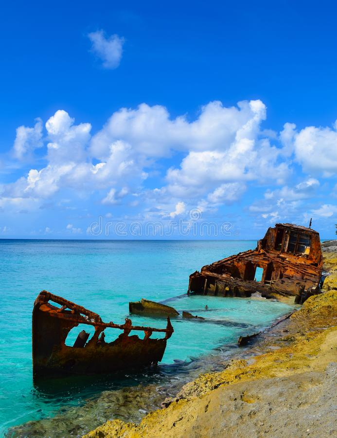 Rusted Bahamian shipwreck stock photography