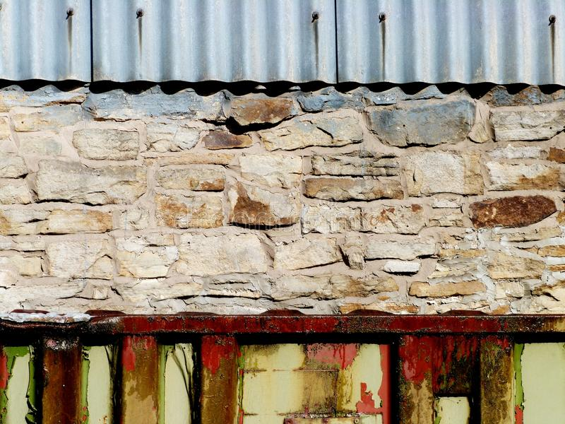 Rusted transport containers painted colorful. Rusted transport containers painted paint royalty free stock images