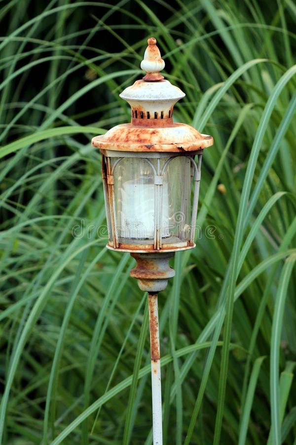 Rusted vintage retro garden lantern candle holder with battery powered candle placed in local garden surrounded with dense plants royalty free stock photos