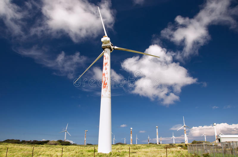 Rusted wind turbines. Rusted wind farm, South Point, Hawaii royalty free stock photography