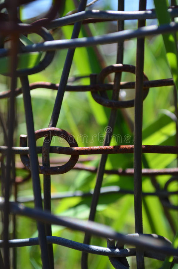 Rusted wire. Ring-lock farm fencing wire. That has started to rust. Would make nice back ground stock images