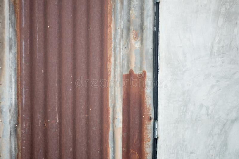 Rusted zinc sheet from the use for a long time royalty free stock image