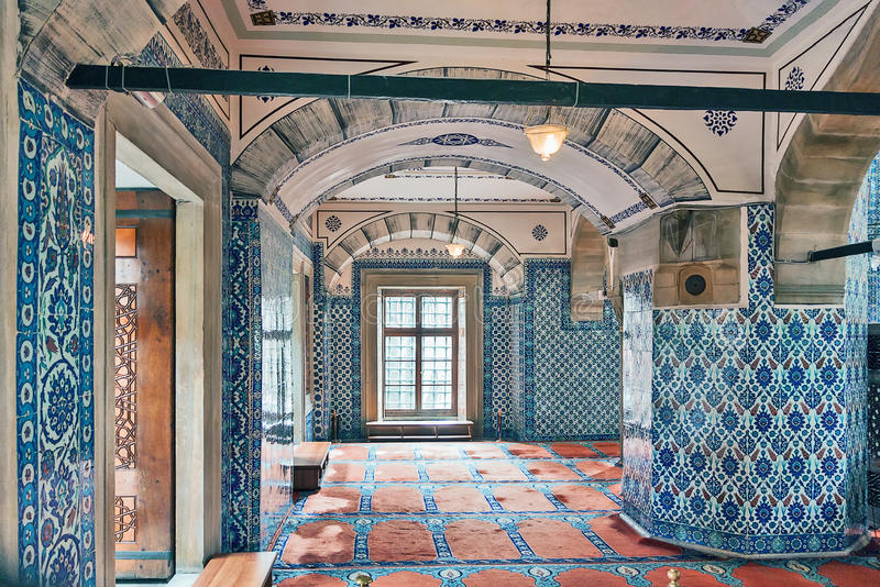 Rustem Pasha Mosque, Istanbul. Inside view. The Rustem Pasha Mosque is famous for its large quantities of exquisite decorated tiles royalty free stock photography