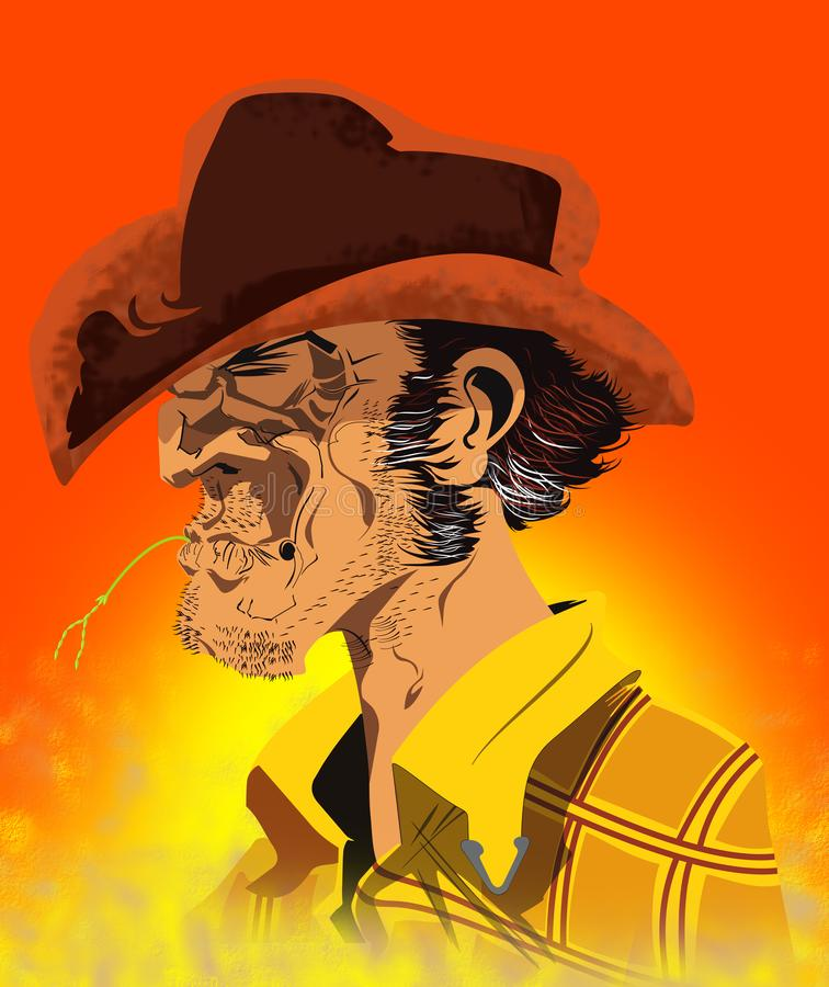 Cowboy close up. Colour picture of a rustic cowboy. Rustic american cowboy profile with straw in his mouth. Tough country man royalty free illustration