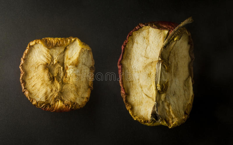 Rustic Apples. Black backgound - rustic apples with many details royalty free stock images