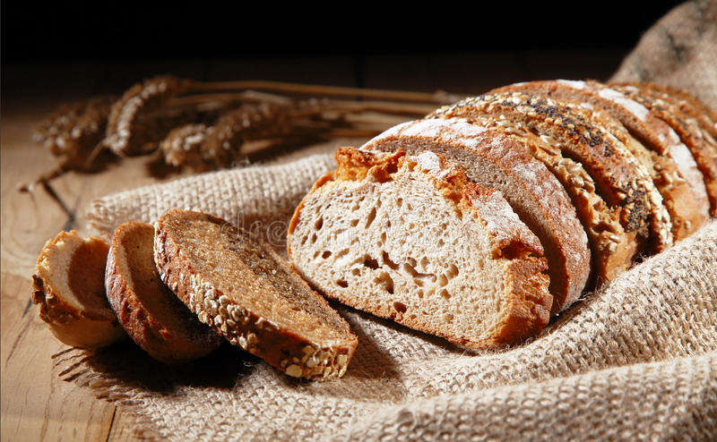 Rustic background of assorted rye bread royalty free stock photos