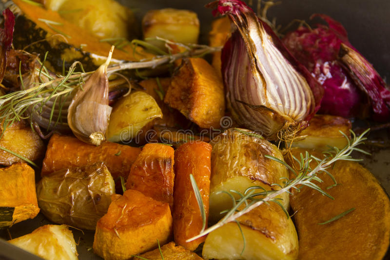 Rustic Baked Vegetables stock photo
