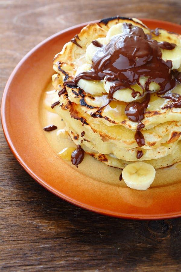 Rustic with banana pancakes. Food closeup royalty free stock photos