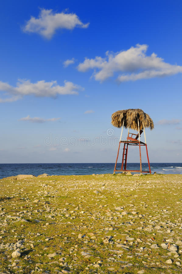 Rustic beach chair royalty free stock image