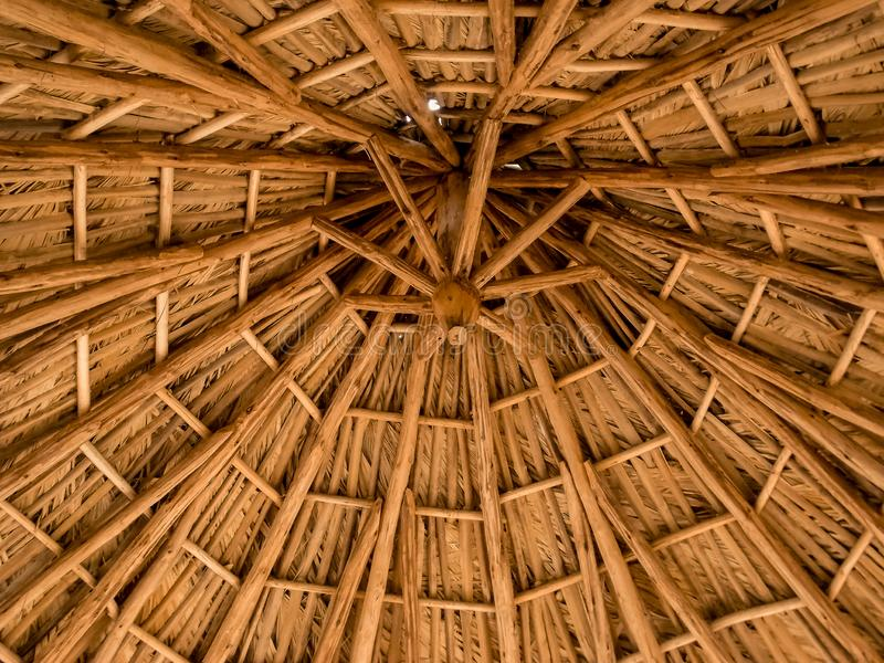 Rustic beach roof, view inside of palm umbrella used for outdoor, beautiful patterns and wood textures royalty free stock image
