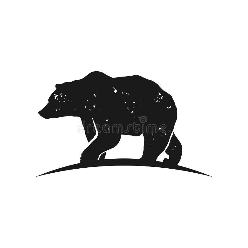 Rustic bear silhouette Logo Inspiration vector illustration