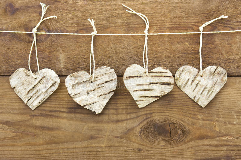 Download Rustic Birch Bark Hearts Stock Photo Image Of Wallpaper