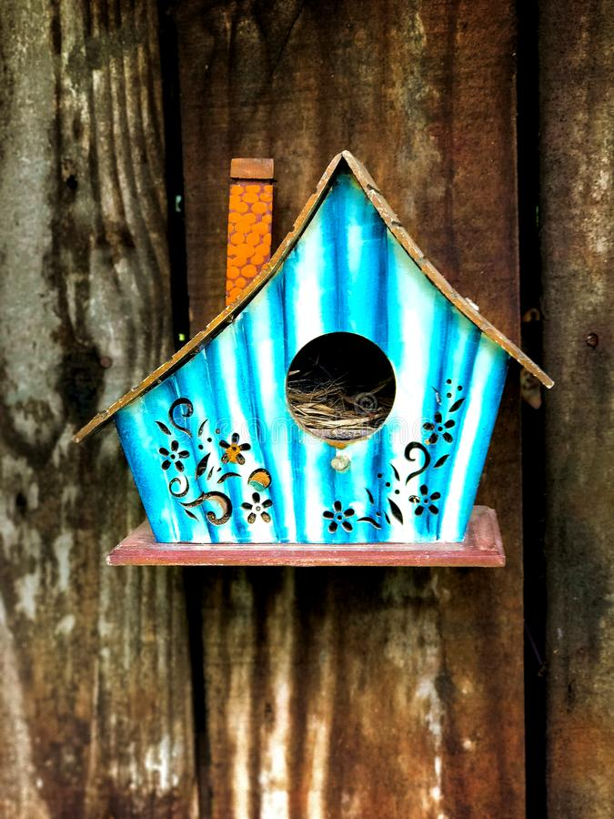 Rustic Birdhouse Wall Mounted on a Farm on Pirai Road stock photography