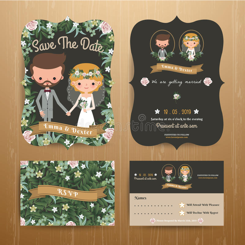 Rustic bohemian cartoon couple wedding card template set. On wood background royalty free illustration