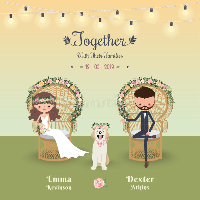 Rustic bohemian cartoon couple wedding invitation card with dog. Peacock chair stock illustration