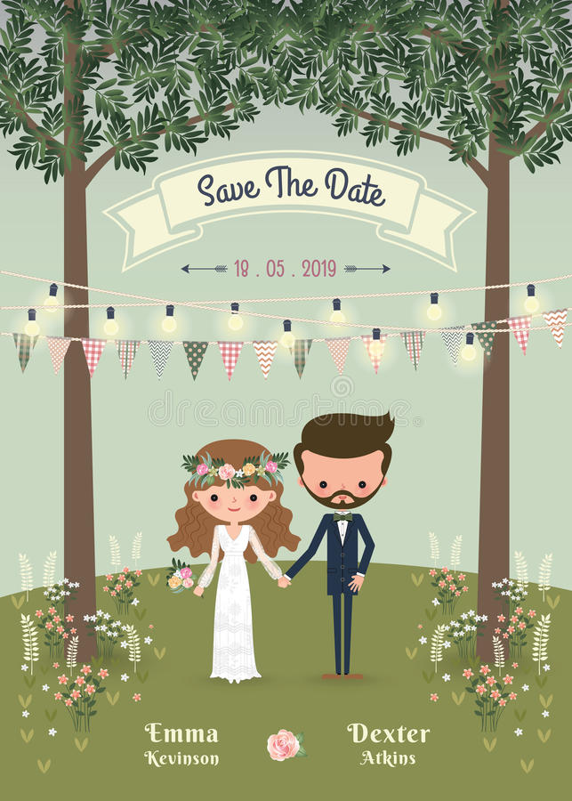 Free Rustic Bohemian Cartoon Couple Wedding Invitation Card In The Forest Stock Photos - 85371643
