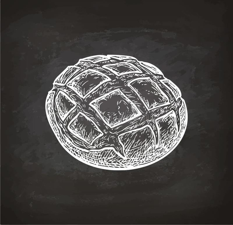 Rustic bread chalk sketch. Chalk sketch of rustic bread on blackboard background. Hand drawn vector illustration. Retro style royalty free illustration