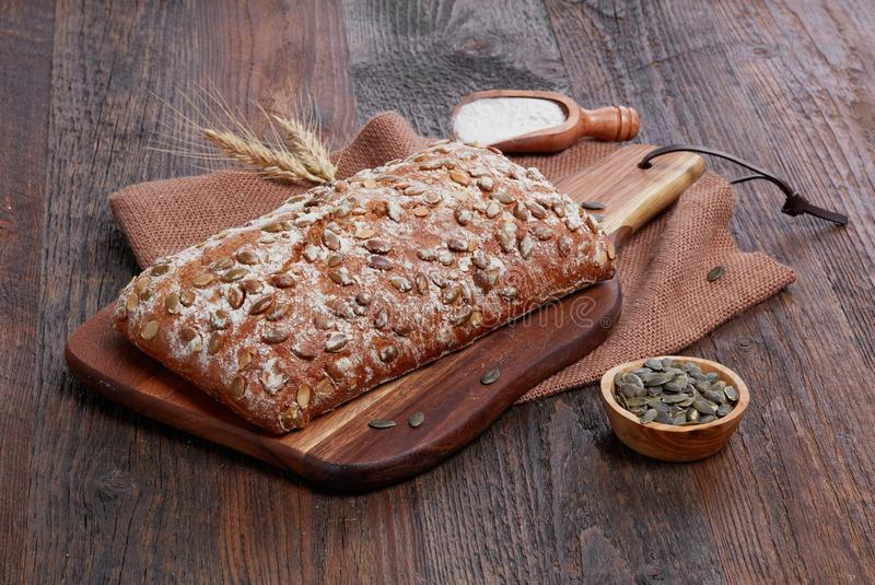 Rustic bread with seeds stock photos