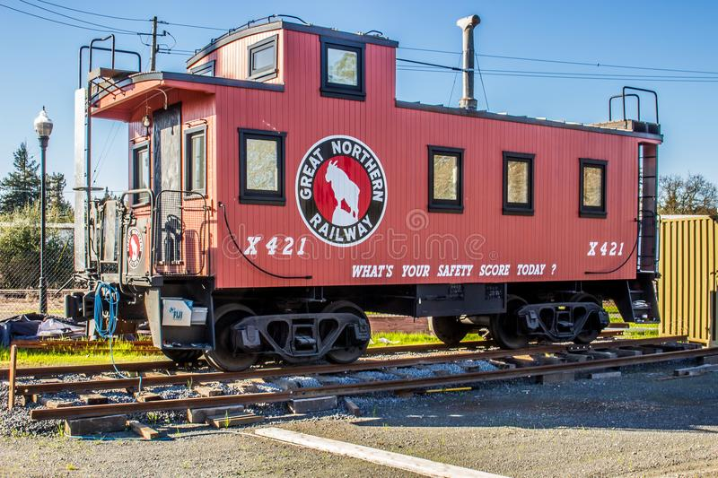Rustic Caboose on display in Healdsburg Ca, royalty free stock images