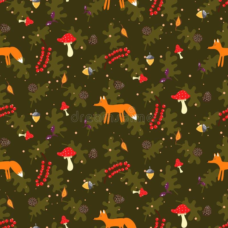 Rustic cartoon autumn forest seamless vector pattern. royalty free illustration