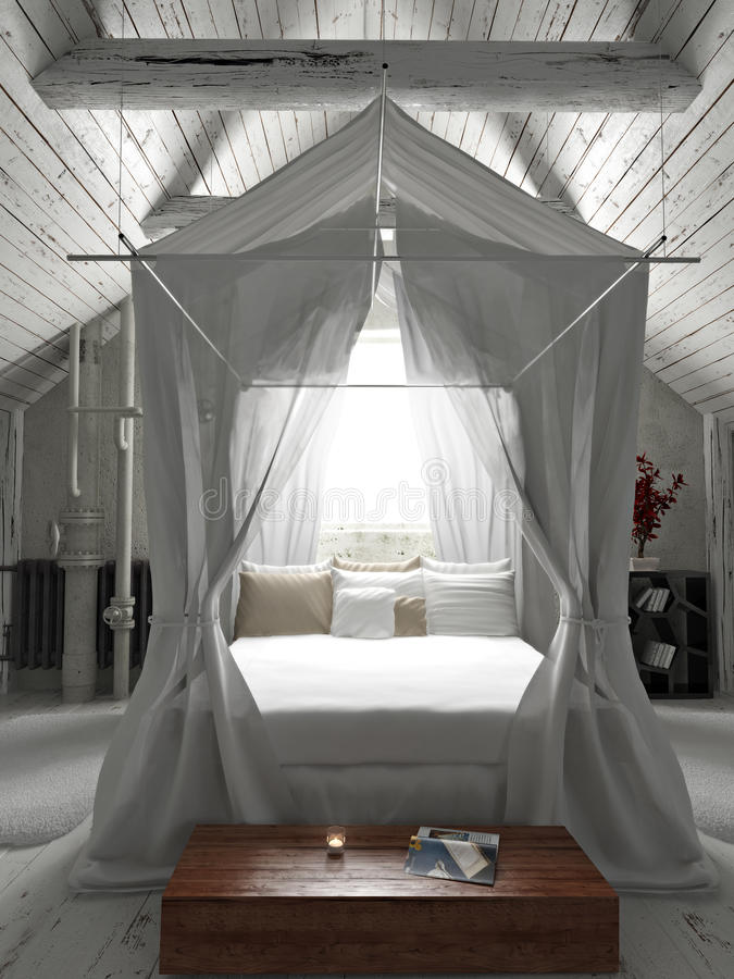 Rustic charming bedroom with draped canopy bed . royalty free illustration