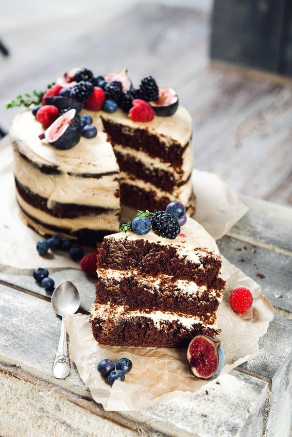 Rustic chocolate cake stock image