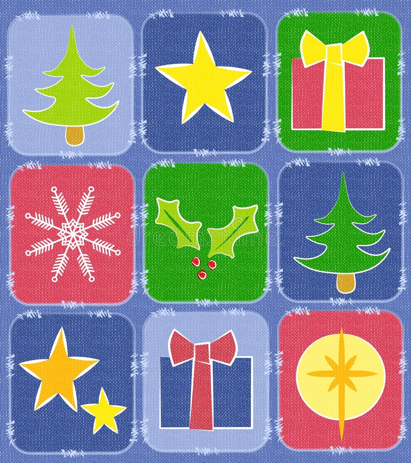 Rustic Christmas Quilt Background. A background illustration featuring various textured squares resembling a quilt decorated with Christmas items - trees, stars royalty free illustration