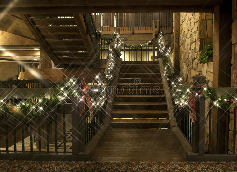Rustic Christmas Staircase royalty free stock photos