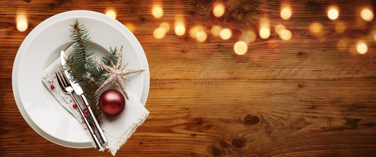 Rustic christmas table decoration stock photography