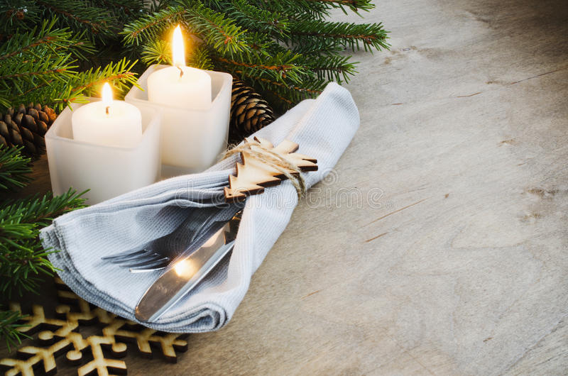 Rustic Christmas Table Setting for Christmas Eve. Winter Holidays. royalty free stock photography