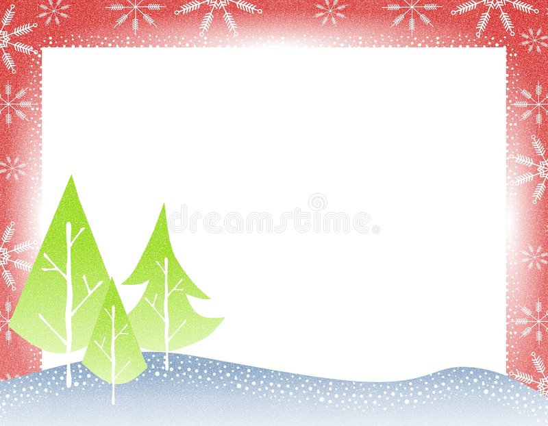 Rustic Christmas Tree Border