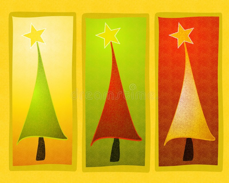 Rustic Christmas Tree Clip Art. A rustic clip art illustration of Christmas trees in red, green and gold vector illustration