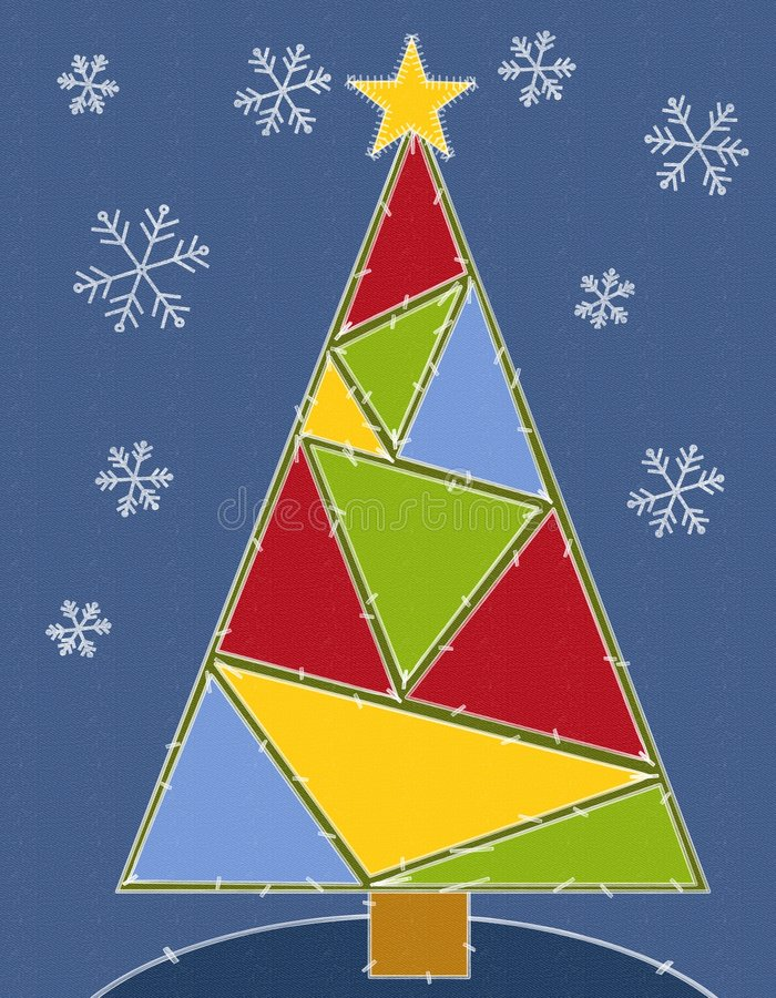 Rustic Christmas Tree Quilt. A clip art illustration of a Christmas tree as a quit with various triangle colors and stitches with snowflakes on blue textured vector illustration