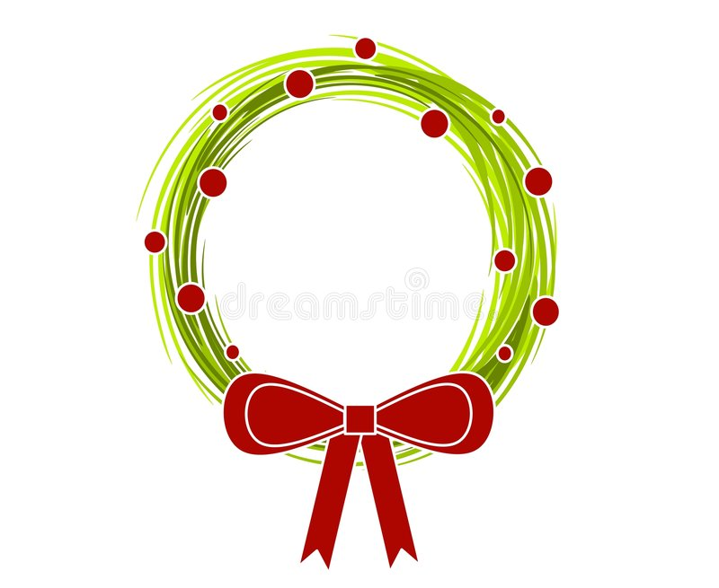 Rustic Christmas Wreath Bow 2. A clip art illustration of a rustic looking Christmas Wreath with big red bow vector illustration