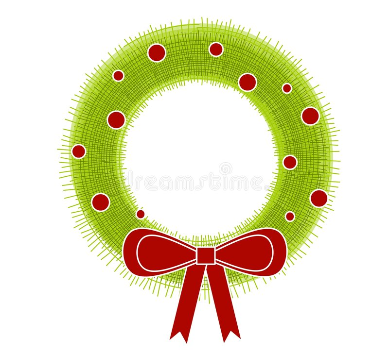 Rustic Christmas Wreath Bow Royalty Free Stock Photography
