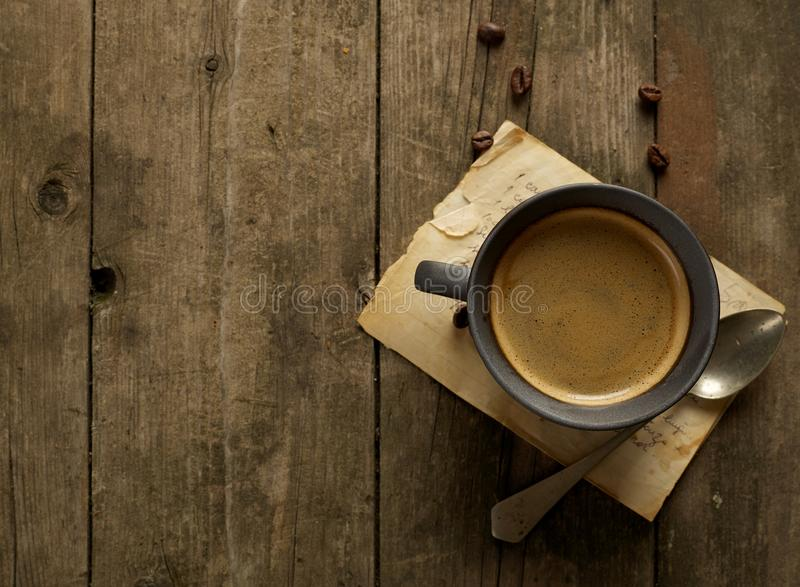 Rustic coffee from above stock photo