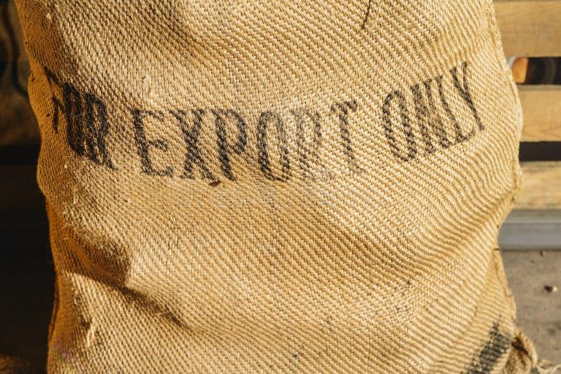Rustic coffee bean bag stock photo