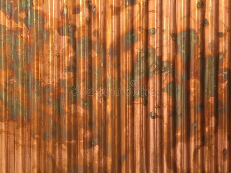 Download Rustic Corrugated Metal Copper Industrial Background With Brown Grungy Colors Stock Image