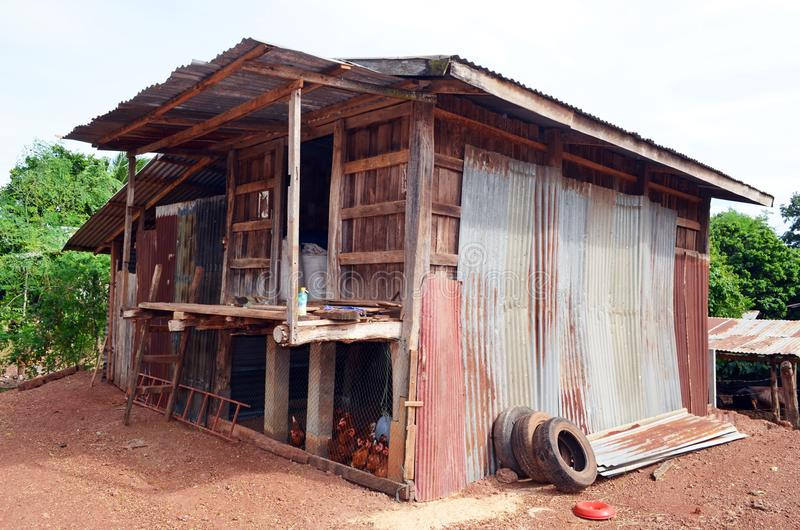 This rustic corrugated tin and wood building serves as a chicken coop in north central Thailand. Chicken coops don`t have to be fancy, as is evident in the royalty free stock image