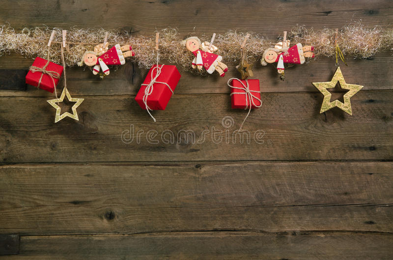 Rustic Country Style Christmas Background With Red Gift Boxes An