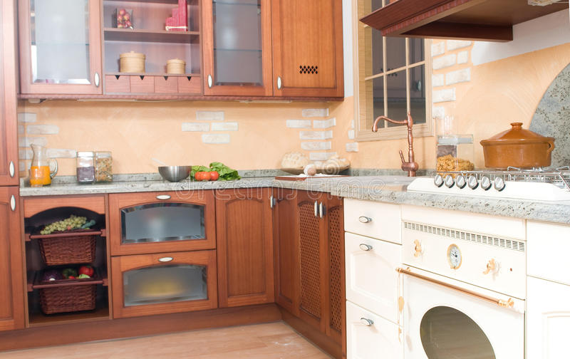 Rustic or country style kitchen. With food royalty free stock photography
