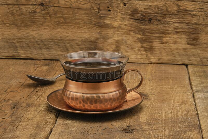 Rustic Cup of Black Coffee royalty free stock photo