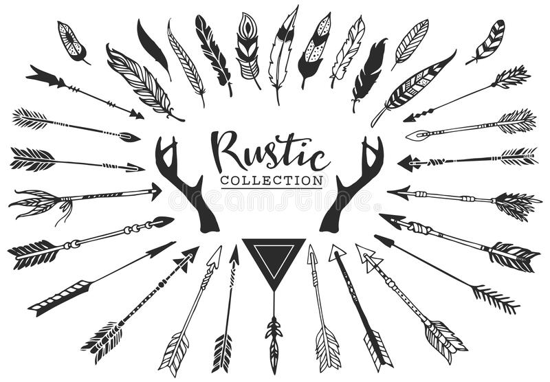 Rustic decorative antlers, arrows and feathers. Hand drawn vintage vector design set. stock illustration